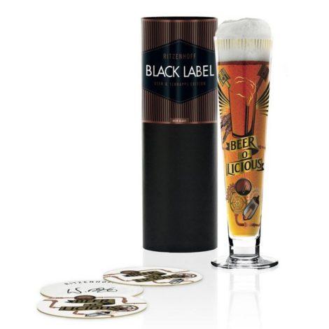 """Ritzenhoff Bierglas """"Black Label Werner Bohr 385 ml"""", Kristallglas"""