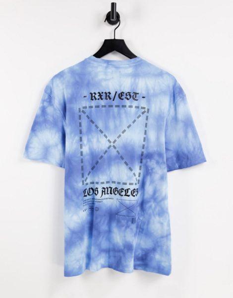 River Island - Blaues T-Shirt mit Farbverlauf