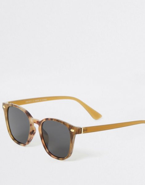 River Island - Sonnenbrille in brauner Schildplattoptik