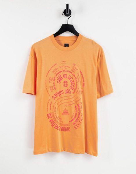 River Island - T-Shirt mit Solace-Print in Orange