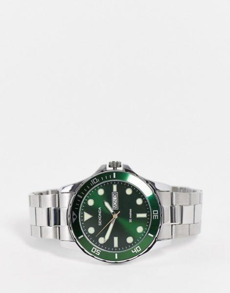 Sekonda - Armbanduhr für Herren mit grünem Zifferblatt-Silber