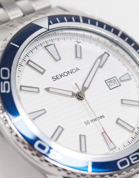 Sekonda - Herren-Armbanduhr in Silber mit blauer Lünette