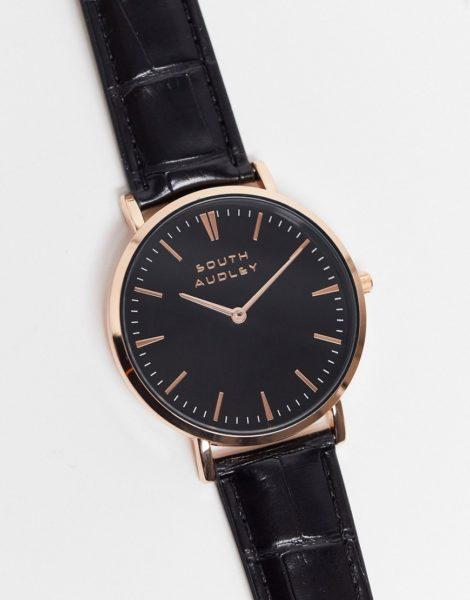 South - Audley - Schwarze Uhr mit schwarzem Zifferblatt