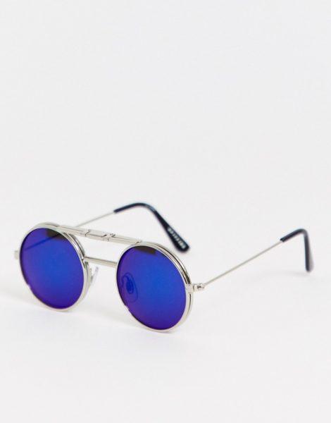 Spitfire - Lennon - Runde, blaue Sonnenbrille zum Hochklappen