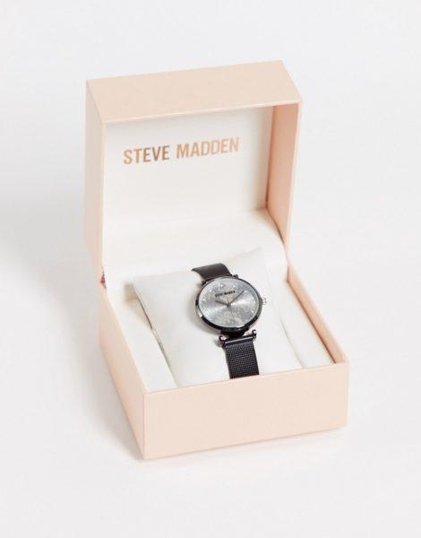Steve Madden - Armbanduhr mit Ziffernblatt mit Schlangenmuster und schwarzem Mesh-Riemen