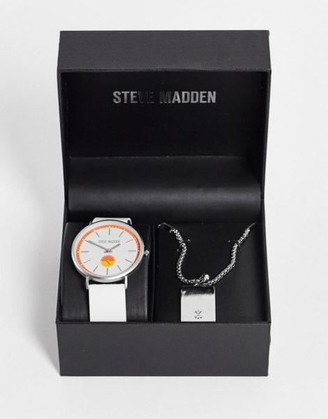 Steve Madden - Geschenkset aus Armbanduhr und Halskette in Weiß und Silber