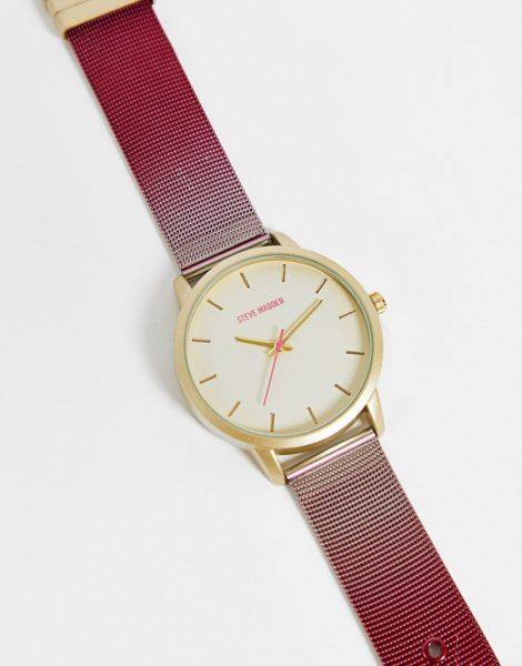 Steve Madden - Uhr mit Zifferblatt in Gold und Netzarmband in Silber