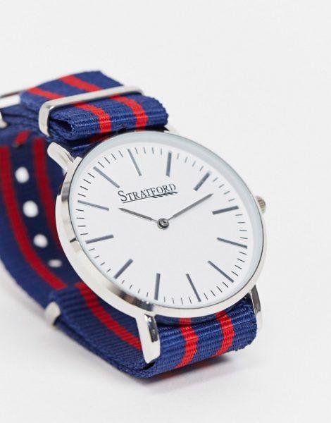 Stratford - Gestreifte Armbanduhr-Blau