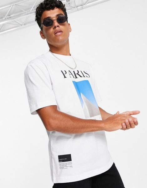 Topman - Paris - T-Shirt in Weiß mit Print
