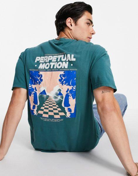 """Topman - T-Shirt in verwaschenem Grün mit """"Perpetual Motion""""-Print auf Vorder- und Rückseite"""