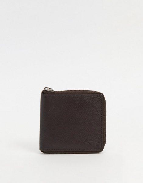 Urbancode - Geldbörse aus Leder mit Rundum-Reißverschluss-Braun