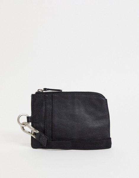 Urbancode - Lederbrieftasche mit Reißverschluss und Riemen-Schwarz