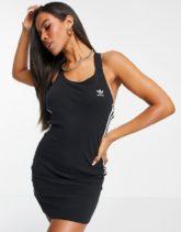 adidas Originals - adicolor - Figurbetontes Kleid in Schwarz mit drei Streifen, Logo und Racerback