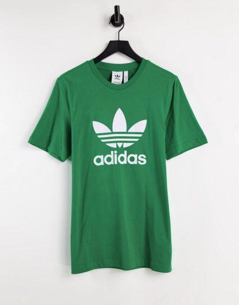 adidas Originals - adicolor - T-Shirt in Grün mit großem Dreiblattlogo