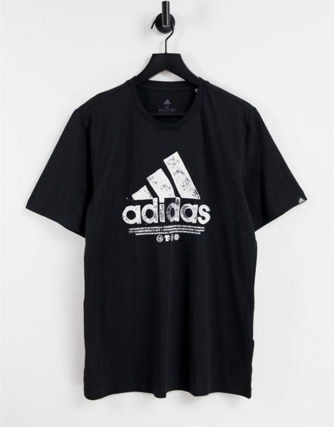 adidas - T-Shirt in Schwarz mit Print