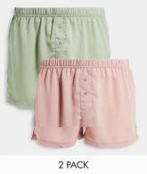 ASOS DESIGN - 2er-Pack Boxershorts aus Knitterstoff in Pastellgrün & Rosa-Mehrfarbig
