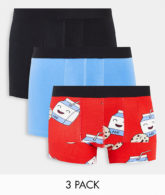 ASOS DESIGN - 3er-Pack Unterhosen mit Keks- und Milchprint-Mehrfarbig