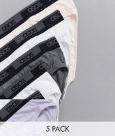 ASOS DESIGN - 5er-Packung Slips mit Logobund-Mehrfarbig