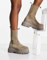 ASOS DESIGN - Addison - Robuste Chelsea-Stiefel aus hochwertigem Wildleder in Grau