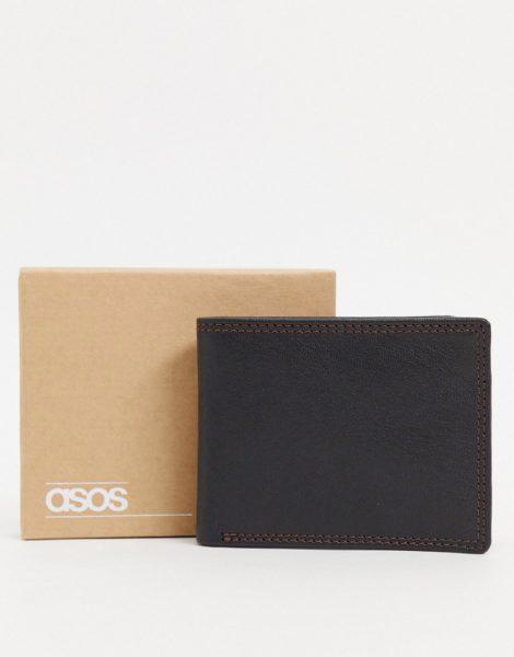 ASOS DESIGN - Brieftasche aus Leder in Schwarz mit Kontrastinnenseite in Burgunderrot und Ziernaht
