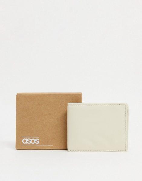 ASOS DESIGN - Brieftasche aus Leder in Stein-Neutral