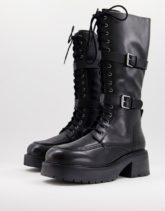 ASOS DESIGN - Camden - Kniehohe Stiefel aus hochwertigem Leder in Schwarz