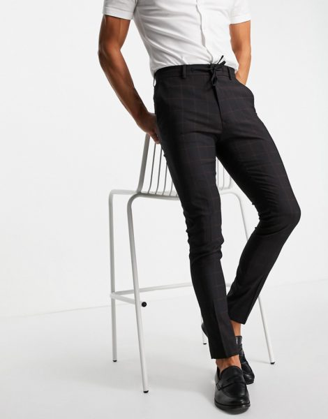 ASOS DESIGN - Elegante Hose in Marineblau mit großkariertem Muster, Kombiteil