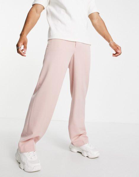 ASOS DESIGN - Elegante Hose mit weitem Bein in Rosa, Kombiteil
