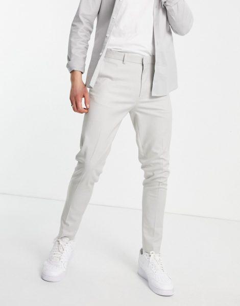 ASOS DESIGN - Elegante, karierte Hose mit super enger Passform in Grau