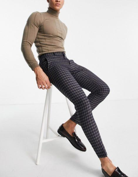 ASOS DESIGN - Elegante, mikrokarierte Hose mit sehr engem Schnitt-Marineblau