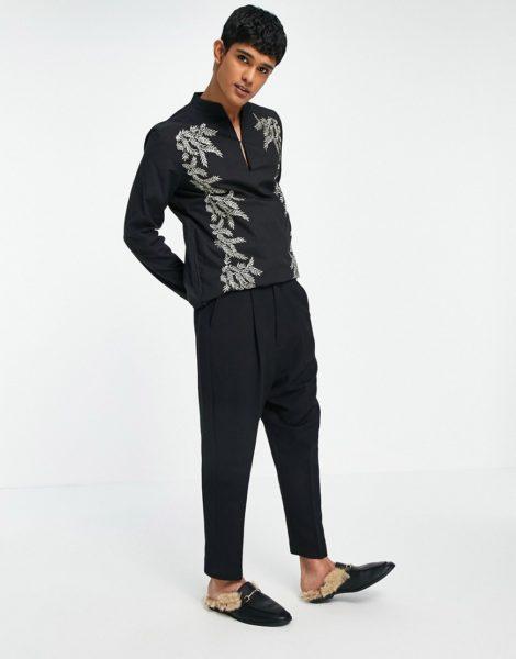 ASOS DESIGN - Enge, elegante Hose mit tiefem Schritt in Schwarz
