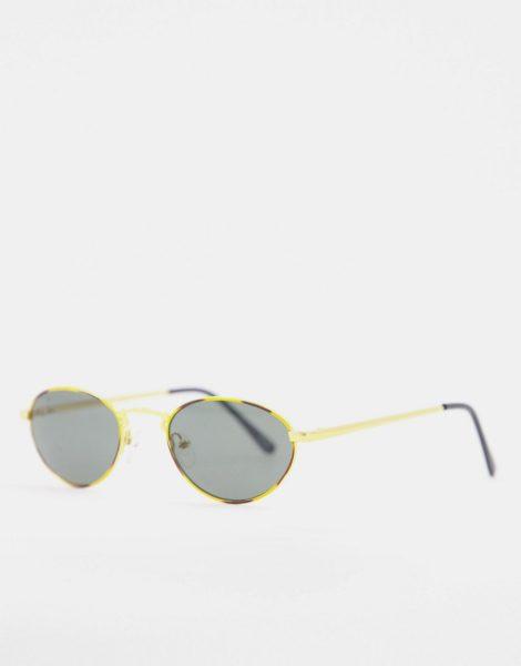 ASOS DESIGN - Kleine, ovale Vintage-Sonnenbrille in Goldfarbton mit getönten Gläsern-Braun