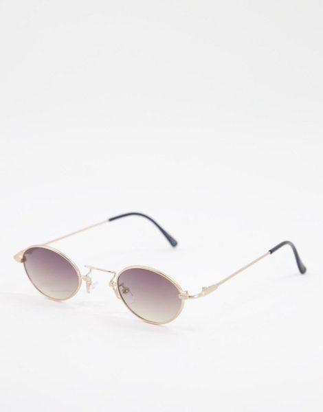 ASOS DESIGN - Kleine, runde Sonnenbrille mit Metallrahmen in Silber und getönten Gläsern