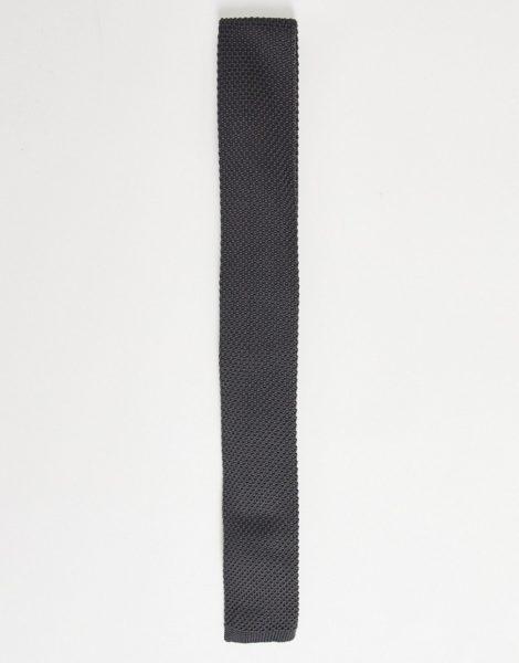 ASOS DESIGN - Krawatte aus Strick in Anthrazit-Grau