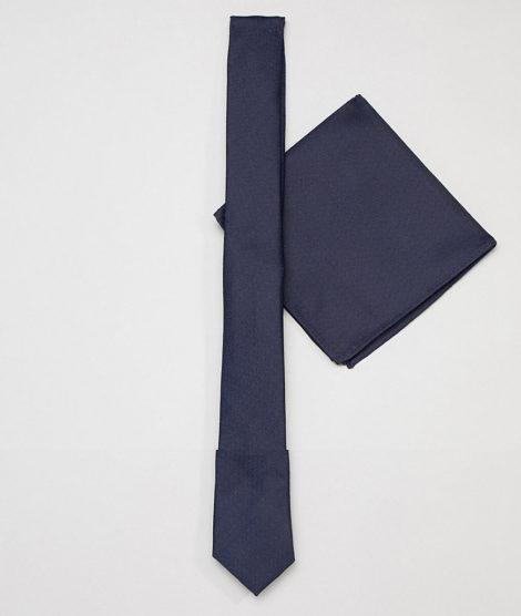 ASOS DESIGN - Schmale, marineblaue Krawatte und Einstecktuch