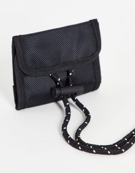 ASOS DESIGN - Schwarze Brieftasche zum Umhängen