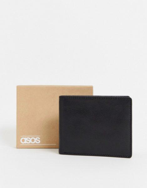 ASOS DESIGN - Schwarze Leder-Brieftasche mit internem Münzfach