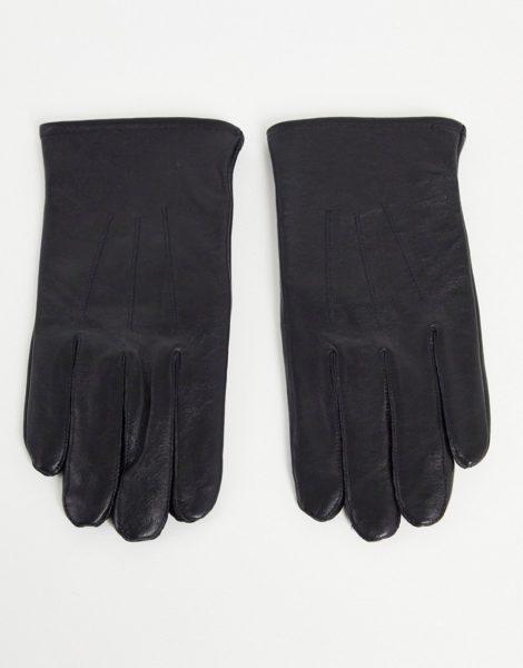 ASOS DESIGN - Touchscreen-Handschuhe aus schwarzem Leder
