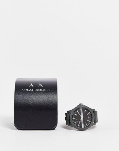 Armani Exchange - AX2423 - Herrenuhr in Schwarz mit Silikonarmband-Grün