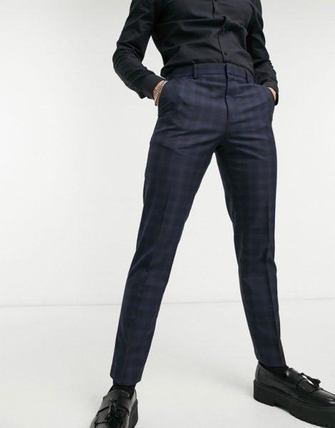 Burton Menswear - Enge, Hose mit Karomuster in Marineblau-Navy