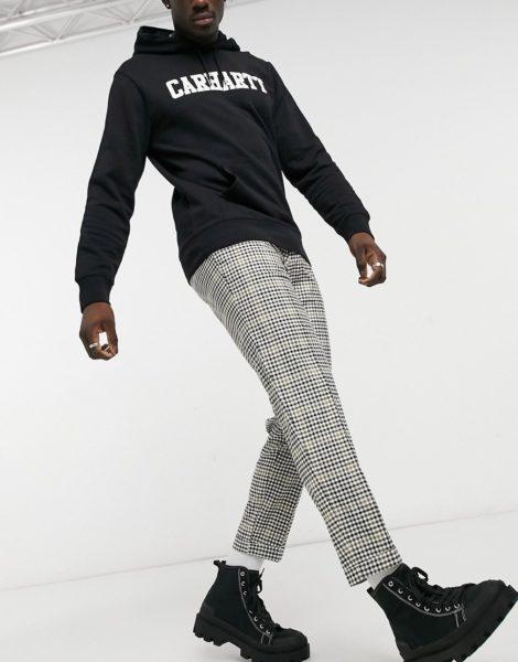 Burton Menswear - Mehrfarbig karierte Hose mit kurzem Schnitt und Ziernähten
