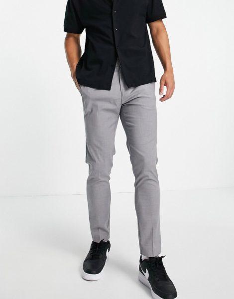 Burton Menswear - Recycled - Elegante Hose mit engem Schnitt in Hellgrau