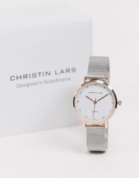 Christin Lars - Silberne Armbanduhr mit goldenem Zifferblatt-Grau