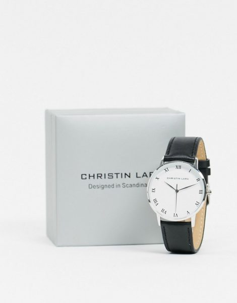 Christin Lars - Silberne Armbanduhr mit weißem Zifferblatt-Schwarz