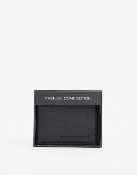 French Connection - Klassische Bifold-Brieftasche aus schwarzem Leder