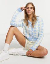 Glamorous - Karierte Strickjacke mit Kontrastkragen, Kombiteil-Blau