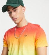 Hollister - Pride Capsule - T-Shirt mit mehrfarbigem Regenbogen-Farbverlauf und Logo
