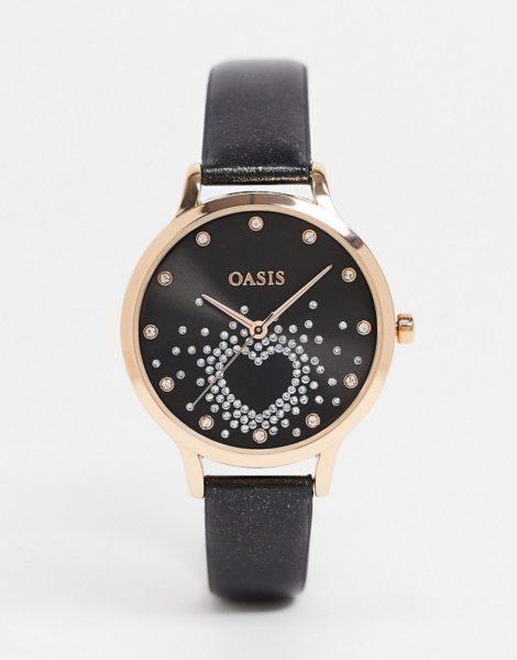 Oasis - Schwarze Armbanduhr mit gemustertem Zifferblatt