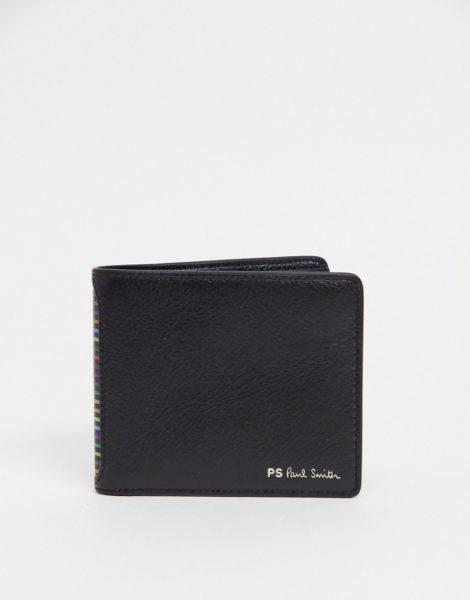 PS Paul Smith - Brieftasche aus Leder mit Streifen und Logo in Schwarz