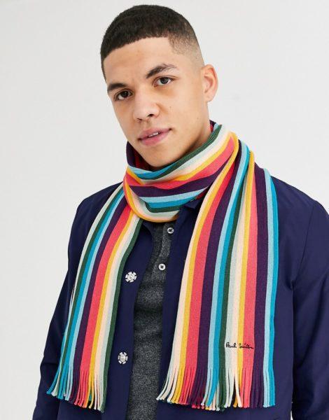 Paul Smith - Artist - Bunt gestreifter Schal aus Wolle-Mehrfarbig